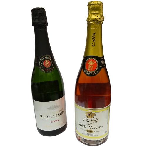 combo cava real tesoro brut + real tesoro rose champagne