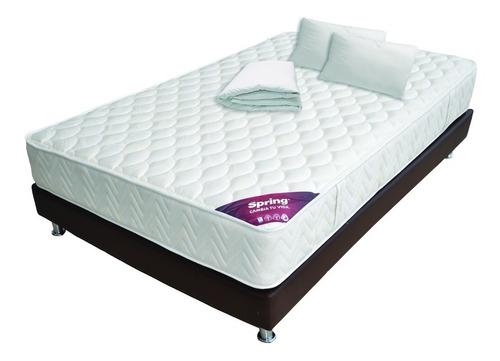 combo classic doble 140x190+base cama+protector+almohada