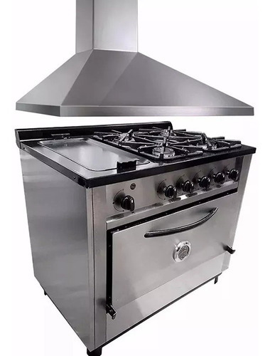 combo cocina depaolo 4h + plancha + campana extractora 90cm