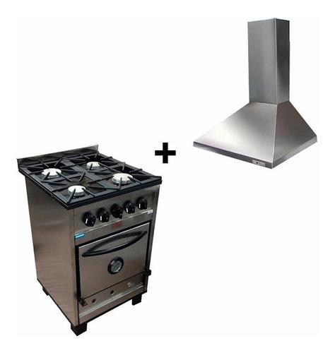 combo cocina industrial tecnocalor 57cm + campana motor 60cm