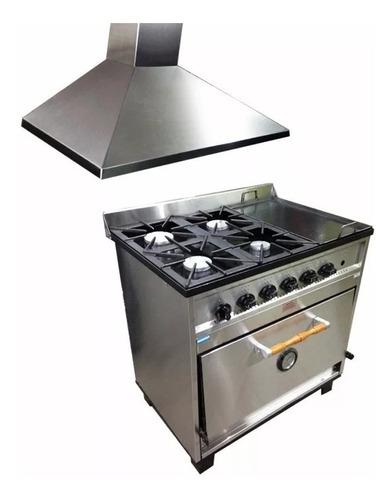 combo cocina tecnocalor 4h + plancha campana extractora 90cm