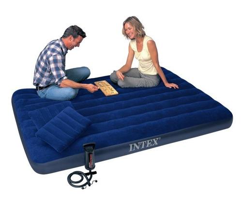 combo colchón doble + 2 almohadas + inflador intex