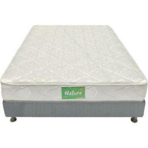 combo colchon nature confort sencillo-blanco + basecama prem