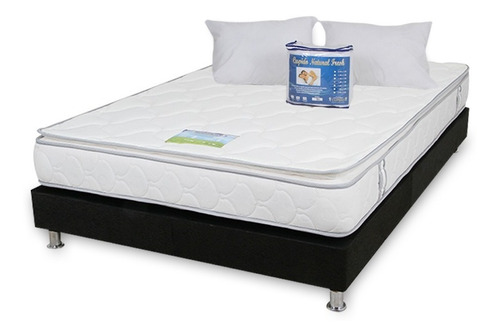 combo colchon pillow blue king 2x2 + base cama + lenceria