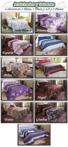 combo colchón + sommier + acolchado + sabanas +2 almohadas