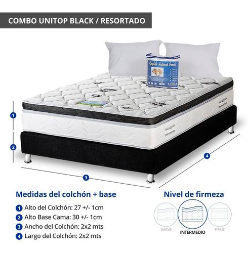 combo colchon unitop black 2x2 base cama + obsequio