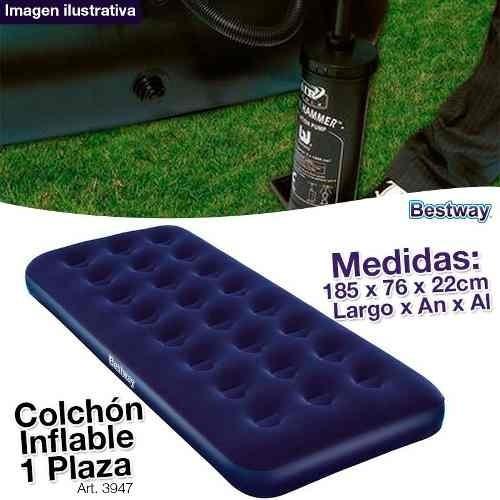 combo colchones inflables 1p + inflador + 2 sillas + bidon