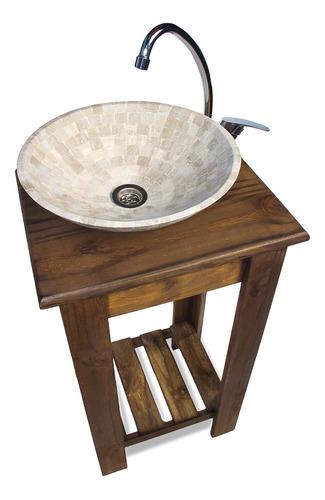 combo completo bacha travertino griferia vanitory 40cm baño.