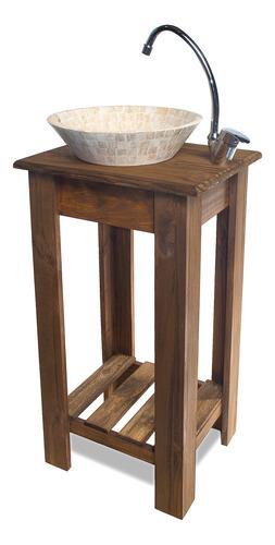 combo completo bacha travertino griferia vanitory 40cm baño/