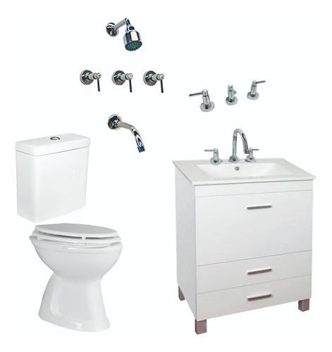 combo completo baño set inodoro pringles vanitory griferia