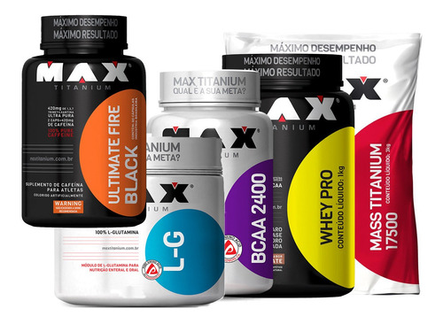 combo completo max titanium ganho de massa muscular e definição mass + bcaa + glutamina + termogenico + whey protein