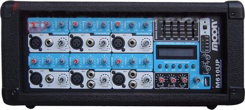 combo consola potenciada 6 canales + 2 bafles 12´´ + 2 mic