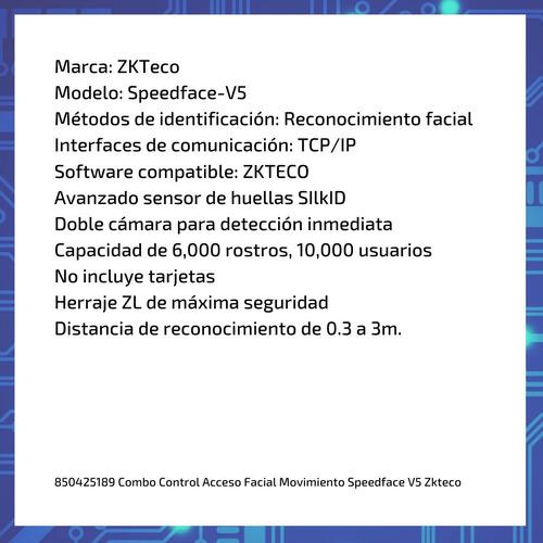combo control acceso facial movimiento speedface v5 zkteco