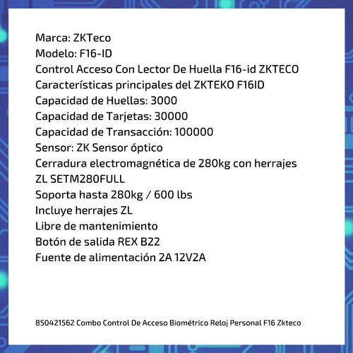 combo control de acceso biométrico reloj personal f16 zkteco