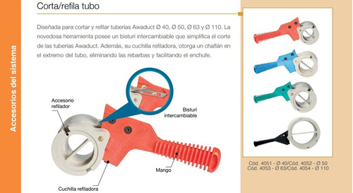 combo cortatubo refila caño awaduct de 40, 50, 63, 110 mm