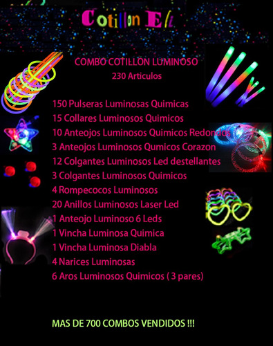 combo cotillón luminoso - 230 articulos  luminosos