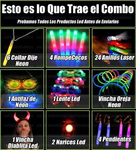 combo cotillón luminoso + carioca 465 artículos + corona led