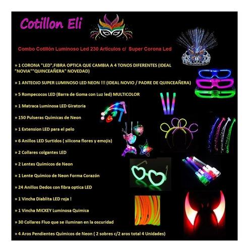 combo cotillón luminoso led 230 artículos + super corona led
