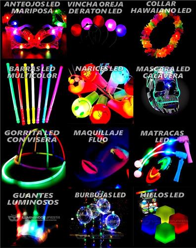 combo cotillón luminoso led 240 artículos + corona + labial