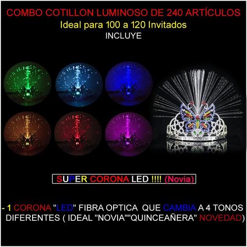 combo cotillón luminoso led 240 artículos + super corona led