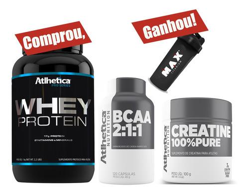combo creatina + bcaa 120 caps + whey protein atlhetica