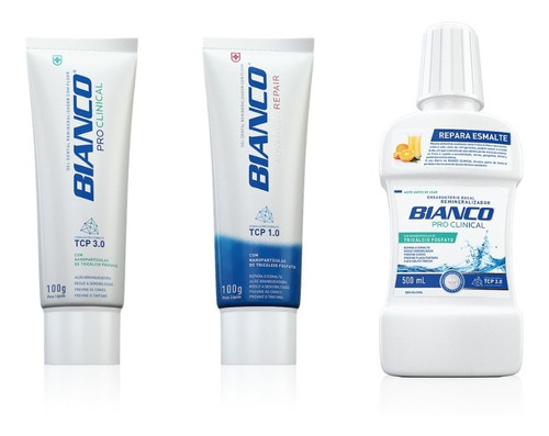 combo creme dental repair + pro clinical + enxaguante 500ml