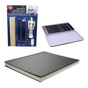 Combo Cuaderno Dibujo + Juego De Lapices +juego De Bosquejos