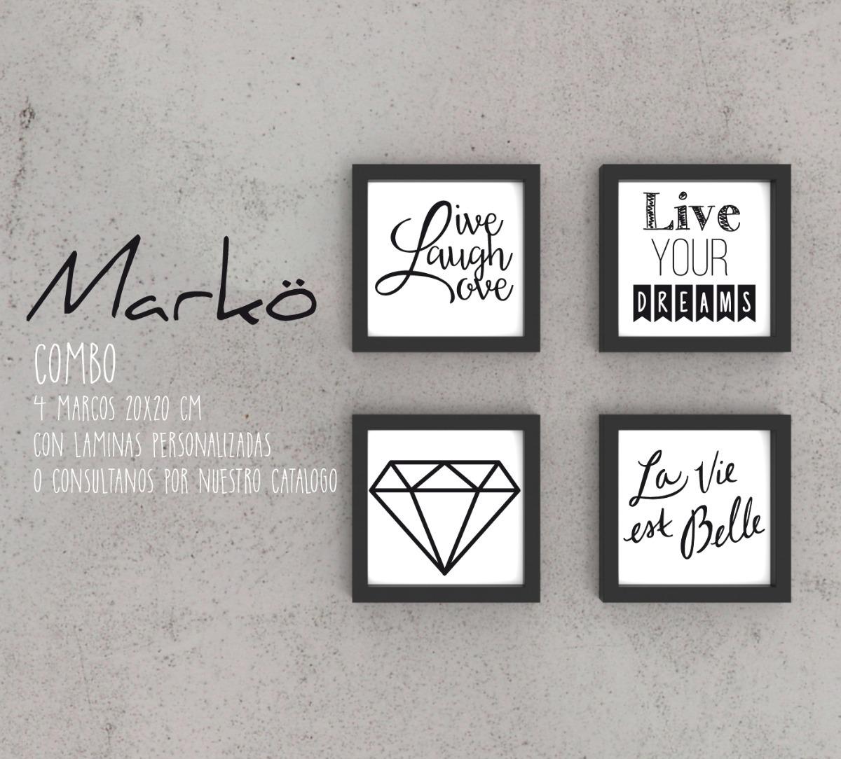 Combo Cuadro Marcos Con Frases Personalizadas 20x20mm - $ 970,00 en ...