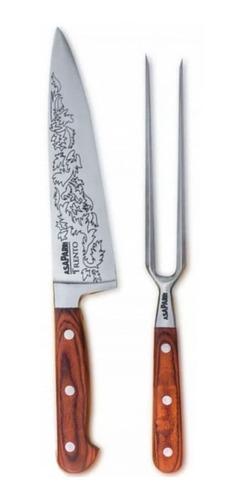 combo cuchilla + pinche  asaparri cocina gourmet parrillero