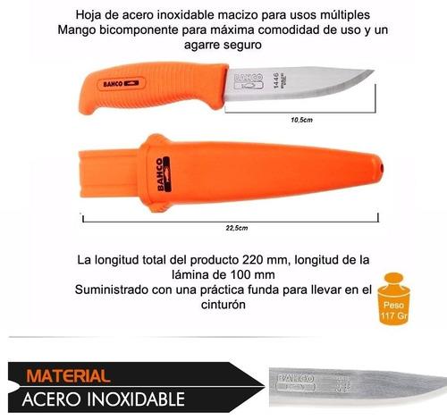combo cuchillo bahco 1446 con funda + afilador bahco sharp-x