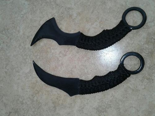 combo cuchillo kerambit y hacha tomahawk acero forjado