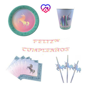 Combo Cumple Kit Unicornio Para 12 Personas Festeja En Casa