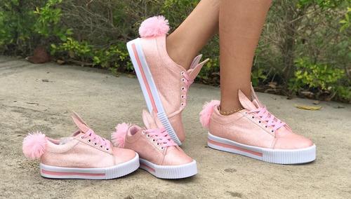 combo dama y niña calzado de deportivo oreja de conejo rosa