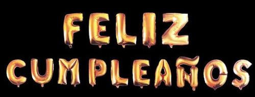 combo de 15 letras globo metalizado feliz cumpleaños