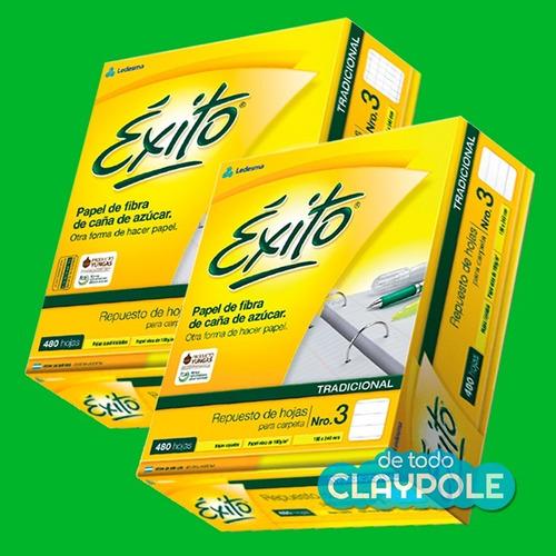 combo de 2 cajas de repuestos éxito nº3 x480 hojas c/u