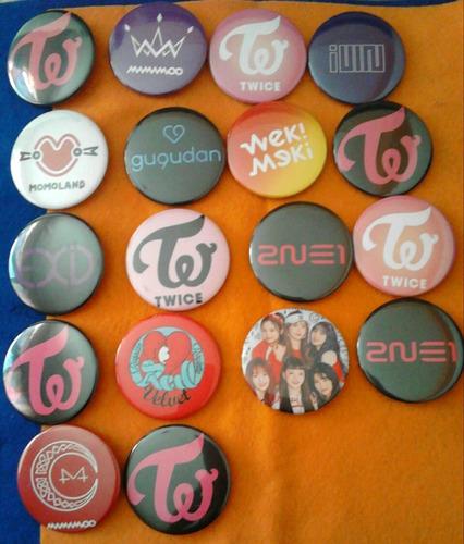 combo de 6 chapas kpop bts,exo,seventeen,blackpink,got7, etc