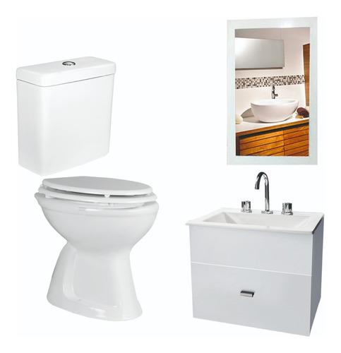 combo de baño inodoro oniro vanitory blanco 50 cm espejo