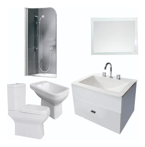 combo de baño inodoro vanitory 50cm mampara bidet y espejo