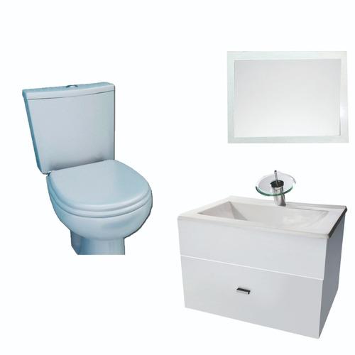 combo de baño vanitory 60cm cascada espejo inodoro
