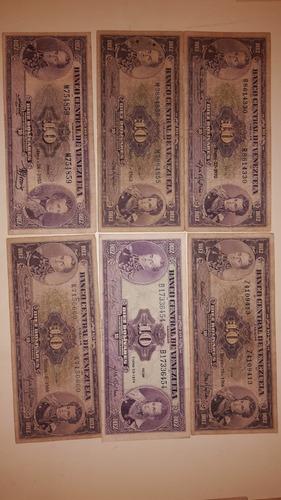 combo de billetes antiguos venezolanos de bs 10