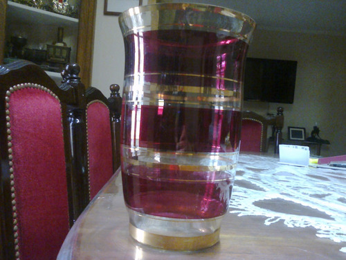 combo de floreros de cristal color rubi