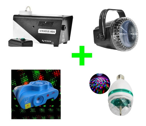 combo de luces dj laser multipunto+lampara led+flash+humo