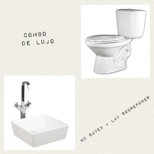combo de lujo wc savex elongado + lavamanos sobreponer