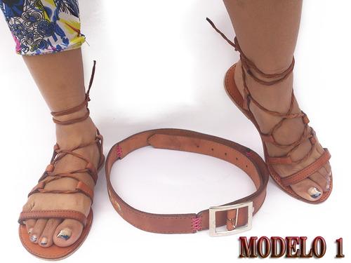combo de sandalia y correa artesanales en cuero para damas