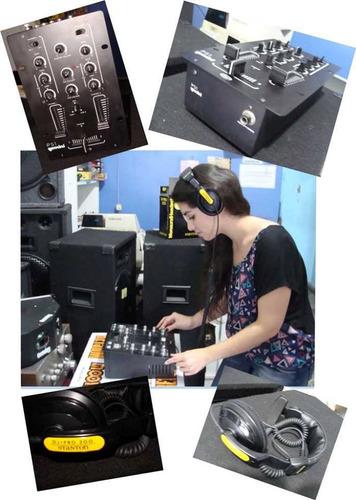 combo de sonido completo cabezal 2 bafles y micrófonos