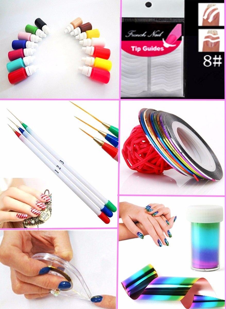 Combo decoracion de u as foil cintas pinceles - Decoracion con cintas de papel ...