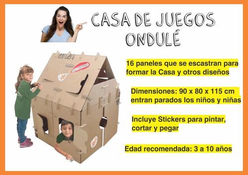 combo didáctico ondulé 1 casa gigante +  3 juguetes c/libros