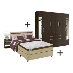 Combo Dormitorio Sommier 2p + Ropero + Respaldo + M De Luz