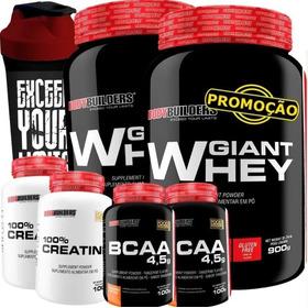 Combo Duplo Whey Protein + 2x Bcaa + 2x Creatina + Shaker