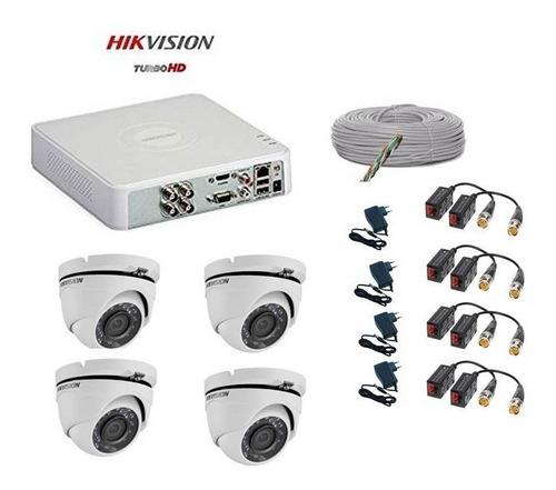 combo  dvr 4ch + 4 camaras domo matalicas hikvision 720p hd